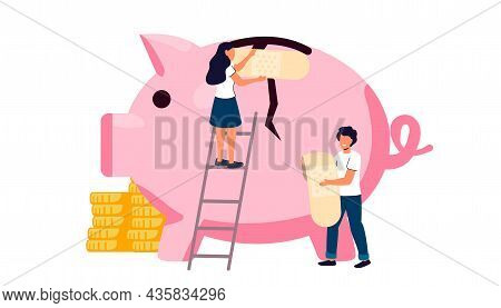 Broken Piggy Bank With Money On Color Background Money Saving And Bank Business Graphic Design Econo