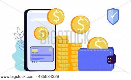 Secure Mobile Payment Vector Illustration Money Transfer Or Online Finance Concept With Smartphone F