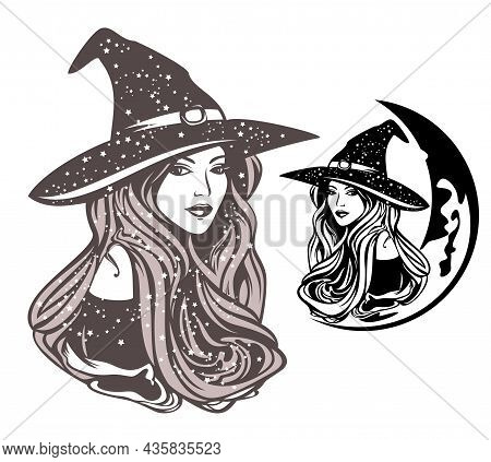 Beautiful Sorceress With Long Hair Wearing Traditional Witch Hat And Crescent Moon - Celestial Magic