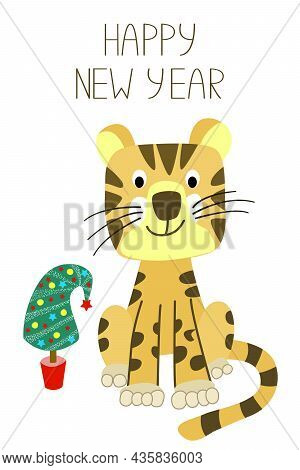The Symbol Of The Chinese Year 2022 Is The Tiger. New Year Card With Greeting Lettering, Cute Tiger