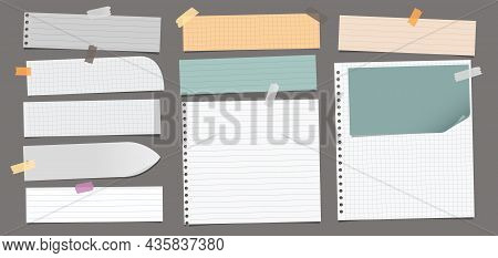 Set Of Torn Yellow, White Note, Notebook Paper Pieces With Sticky Tape Stuck On Dark Grey Background