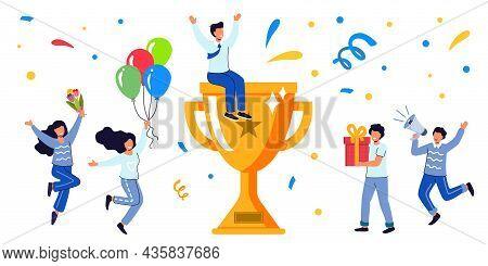 Success Business Team Golden Trophy Cup Symbol Of Victory Business Team Celebrating Victory Business