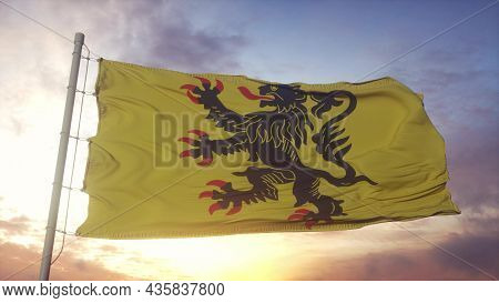 Nord-pas-de-calais Flag, France, Waving In The Wind, Sky And Sun Background. 3d Rendering