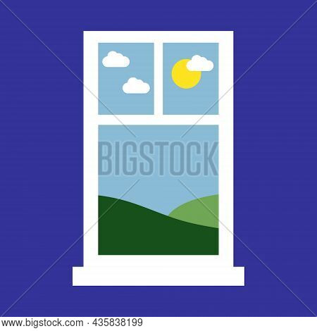Big Window With Beautiful Scenery Outside. Two Windows Vector Illustration. Window With Nature View.