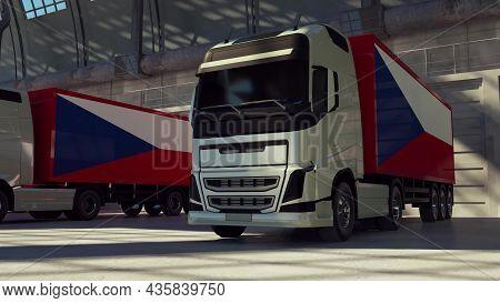 Cargo Trucks With Czech Republic Flag. Trucks From Czech Republic Loading Or Unloading At Warehouse
