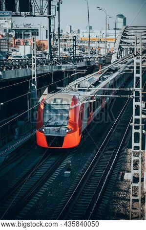Lastochka Train Arrives At The Station Of Moscow Central Ring Mck . Electric Train Es2g-050 Swallow