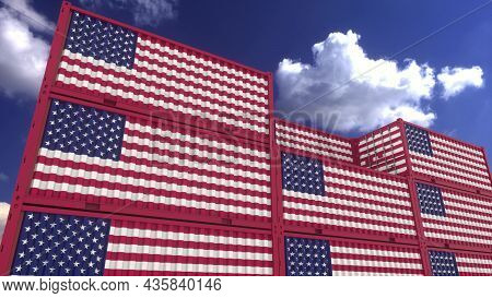 Usa Flag Containers Are Located At The Container Terminal. American Export Or Import Concept, 3d Ren