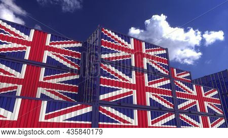 United Kingdom Flag Containers Are Located At The Container Terminal. United Kingdom Export Or Impor
