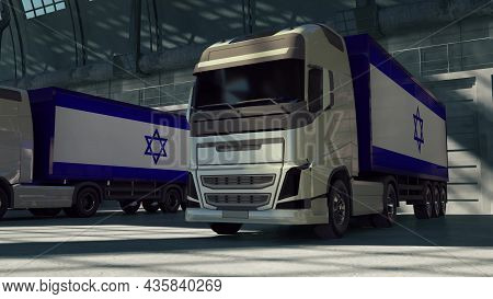 Cargo Trucks With Israel Flag. Trucks From Israel Loading Or Unloading At Warehouse Dock. 3d Renderi