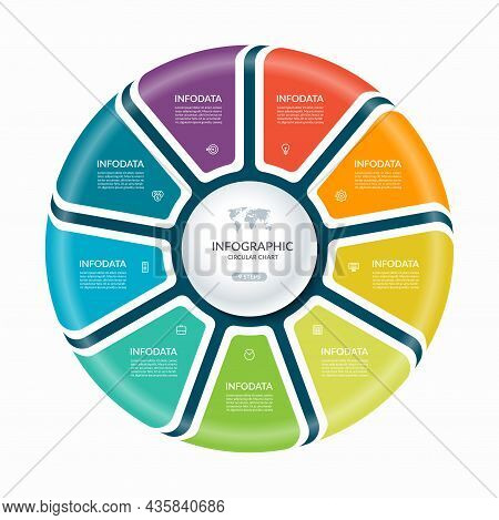 Infographic Circle With 9 Steps, Parts. Vector Process Chart, Cycle Diagram.
