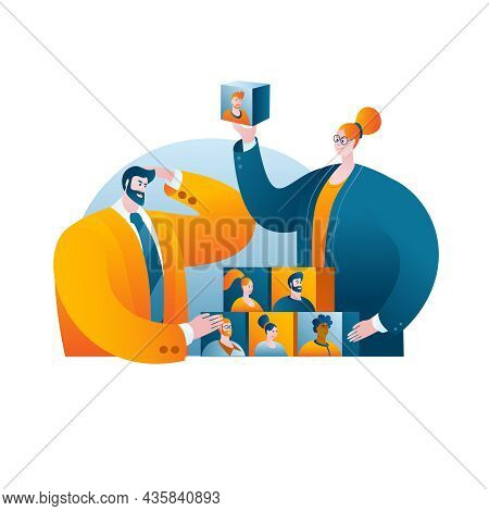 Managers In Business Suits Build A Team. The Concept Of A Vector Illustration On The Topic Of Team B
