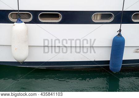 Ship Windows Detail Yacht Fenders Blue White