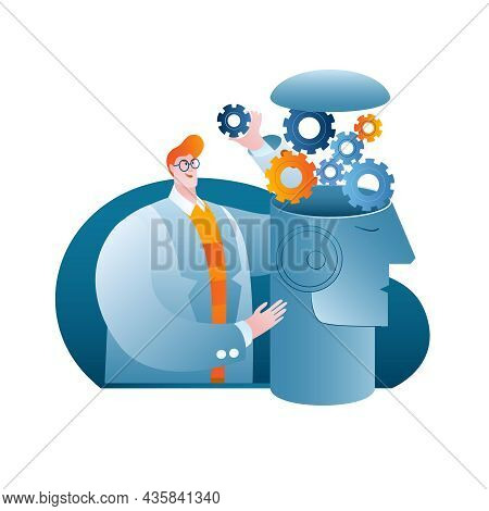 A Man In A Scientists Lab Coat Develops Artificial Intelligence. A Conceptual Illustration On The To
