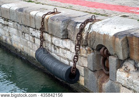 Fenders To Moor Ships In A Harbor