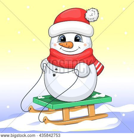 Cute Cartoon Snowman In A Red Hat And Scarf Is Sledding. Winter Vector Illustration.