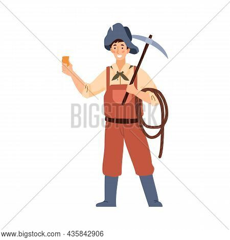 American Gold Rush Period Digger Or Miner, Flat Vector Illustration Isolated.
