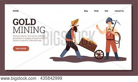 Gold Mining Webpage With Gold Rush Period Miners, Flat Vector Illustration.