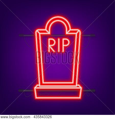 Grave Icon Flat Design. Old Gravestone With Cracks. Neon Style. Vector Illustration