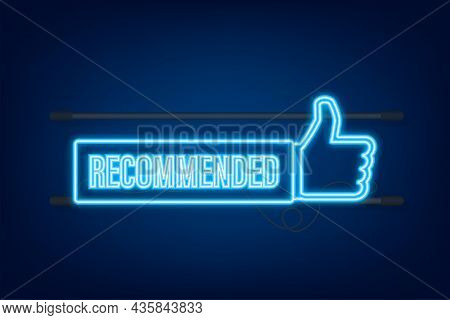 Recommend Icon. White Label Recommended On Blue Background. Neon Icon. Vector Stock Illustration..