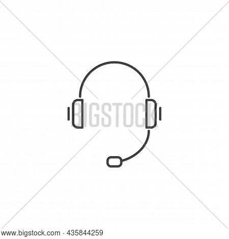 Headset Related Vector Line Icon. Support Service Icon, Hotline Customer Advice, Call Center Help. L