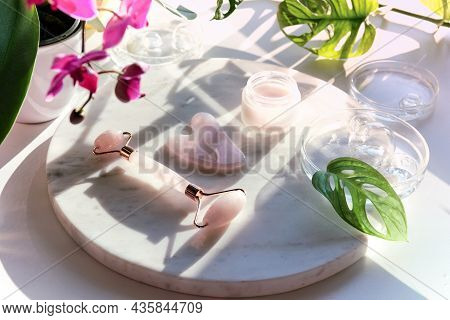 Moisturizer, Pink Quartz Face Roller With Exotic Monstera Leaves And Orchid Flowers. Sunshine, Long