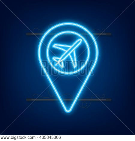 Airport Pin For Concept Design. Pin Point Icon. Map Symbol. Location, Pointer Icon Symbol Design . N
