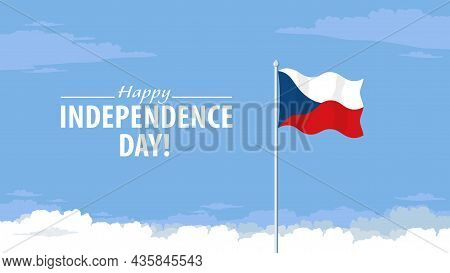 Detailed Flat Vector Illustration Of A Flying Flag Of Czech Republic In Front Of A Cloudy Sky Backgr