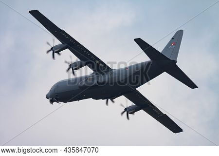 Volkel, Netherlands - June 14, 2013: Military Transport Plane At Air Base. Air Force Flight Operatio