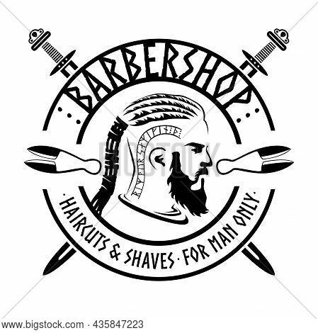 Barber Shop Viking Style, Isolated Vector Vintage Illustration. Bearded Viking Man Monochrome Silhou