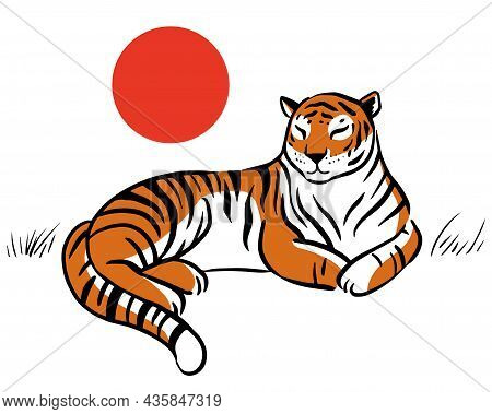 Chinese Tiger Lies On The Background Of The Sun. Tiger In Realistic Style. Year Of The Tiger. Chines