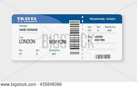 Airplane Ticket. Boarding Document On Board The Aircraft. Paper Tear-off Coupon With Qr Code. Checki