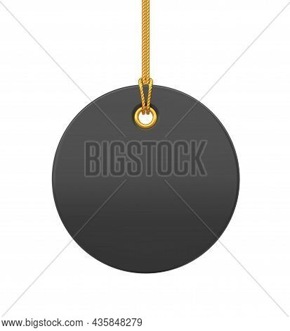 Price Tag. Black Blank Tag Hanging On Gold Rope. Discount Label Isolated On Transparent Background.