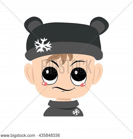 Child With Emotions Of , Displeased Face In Bear Hat With Snowflake. Cute Baby With Annoyed Expressi
