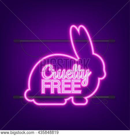 Cruelty Free Pink Banner. Vegan Emblem. Packaging Design. Natural Product. Neon Icon. Vector Stock I