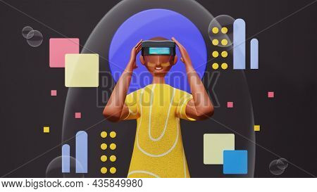 3D Render Of Young Man Wearing AR Box On Abstract Geometric Background.