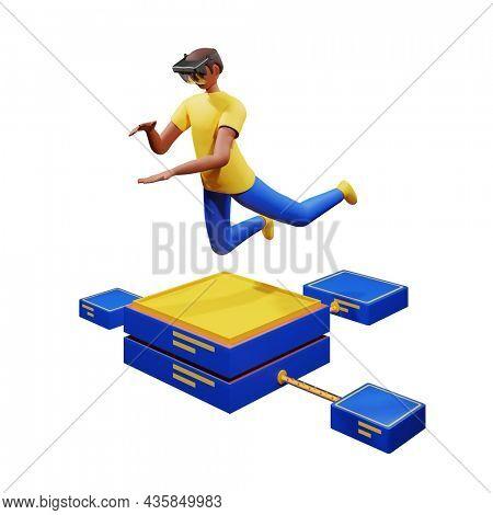 3D Render Of Young Man Imagine To Hold Something Through Ar Glasses In Jumping Pose On Connected Server Illustration.