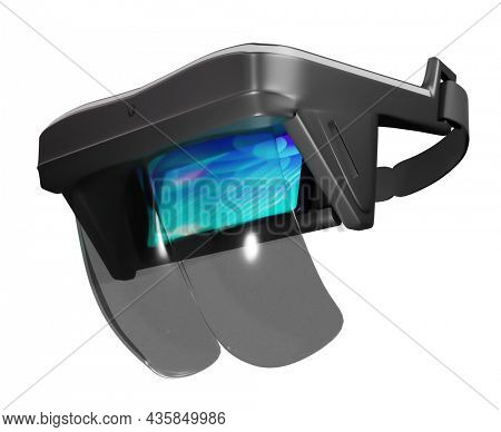 3D AR Headset Or Box On White Background.