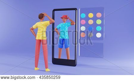 3D Young Man Standing In Front Of Smartphone And Using AR Camera App For Dress Change Concept.