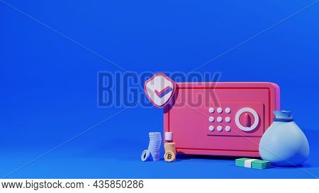 3D Rendering Safe Box With Approve Security Shield, Money Bag And Copy Space.