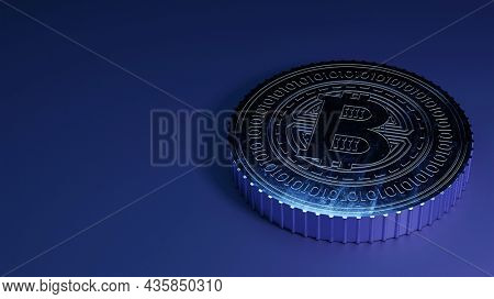3D Silver Bitcoin On Blue Background And Copy Space.