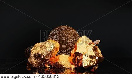 3D Rendering Golden Bitcoin And Stones On Black Background.