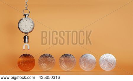 3D Render Of Stopwatch With Magnet Attracting Bronze Bitcoin And Silver Other Crypto Coins On Orange Background.