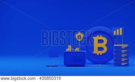 3D Render Of Safe Box With Currencies, Approve Security Shield, Smartphone And Server On Blue Background.