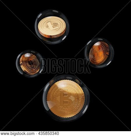 3D Rendering Golden And Bronze Crypto Coins Inside Crystal Balls On Black Background.
