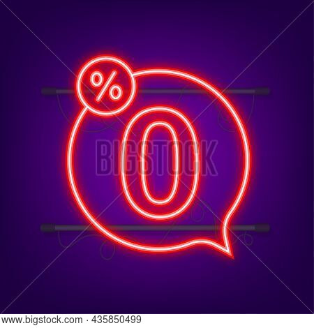 Zero Commission. Design Element. Red Limited Offer. Neon Icon. Special Offer Badge. Vector Stock Ill