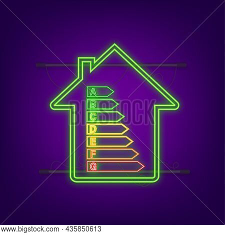 Energy Efficiency Chart And House Concept. Home Icon Vector. Solar Power. Green Home. Neon Icon. Vec