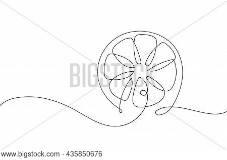 Continuous One Line Drawing Lemon Fruit. Farmer Market Logo Concept. Abstract Hand Drawn Citrus By O