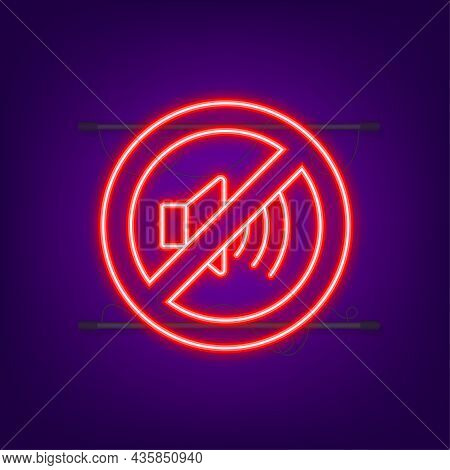 No Sound Phone. Neon Icon. Telephone Call. Cell Phone Icon. Vector Illustration