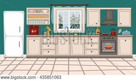 Kitchen Interior With Furniture, Kitchen Stove, Kitchen Utensils And Household Appliances. Vector Il