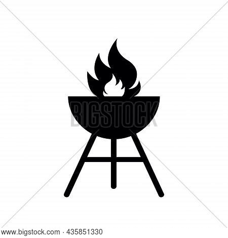 Grill Icon. Bbq Icon. Barbecue With Fire For Picnic. Barbeque In Metal Roaster On Charcoal. Silhouet